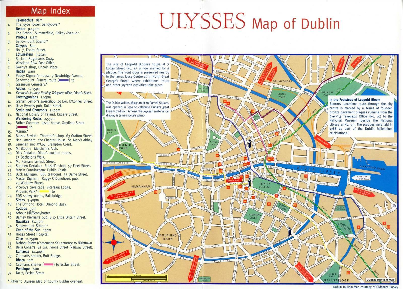 Ulises - James Joyce UlyssesMapofDublinLoRes